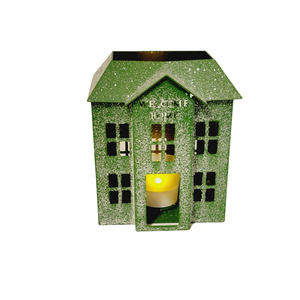 """White Barn Candle Co Welcome Home Green House 7"""" Votive Holder Metal Frosted"""